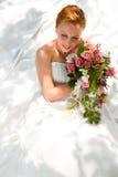 Wedding - noiva com ramalhete fotografia de stock
