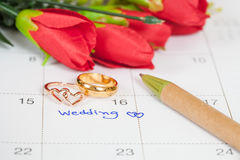 Wedding note on a calendar sets a reminder Stock Photography