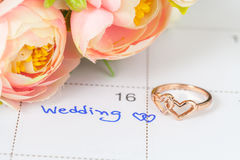 Wedding note on a calendar sets a reminder Stock Images