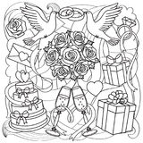 Wedding Objects Set. Wedding doodle outline set on abstract background. Romantic coloring page Stock Photos