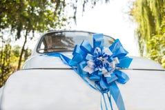Wedding old car. Decorated wedding old car white Stock Photo