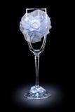 Wedding ornated empty wineglass on black Stock Image
