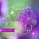 Wedding outline icons set over blurred shining Royalty Free Stock Images