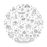 Wedding outline symbols. Vector illustration Royalty Free Stock Photos