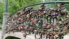 Wedding padlock bridge stock footage