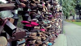 Wedding padlock bridge 2 stock video