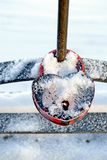 Wedding padlock in the winter. Wedding padlock hanging covered in frost, snow, frost stock photography