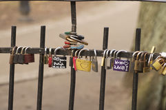 Wedding padlocks on the bridge Stock Photos
