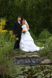 Wedding pair. Near the lagoon Stock Photo
