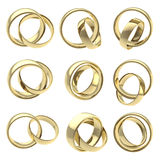 Wedding pair golden rings isolated Royalty Free Stock Photography