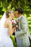 Wedding pair kisses Stock Photography