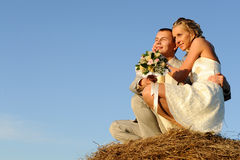 Wedding pair on mow royalty free stock photography