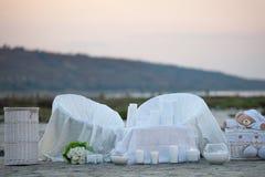 Wedding par la mer Détails de décoration de mariage au bord de la mer Photo stock