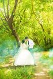 Wedding in the park. Fog Stock Photo