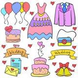 Wedding parti element in doodles Stock Photo