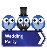 Wedding party. Comical wedding party sign isolated on white background Stock Photos