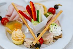 Wedding party appetizer close-up. Landscape orientation, colorful design, food photography Stock Images