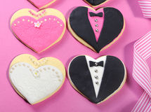 Wedding party bridal cookie favors close up Royalty Free Stock Image