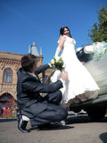 Wedding party. The bride and groom look at each other. Stock Photo
