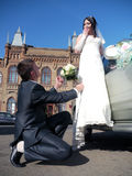 Wedding party. The bride and groom look at each other. Stock Photography