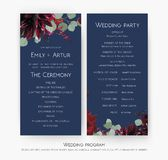 Wedding party & ceremony program card design with Red rose flowers, burgundy dahlia, eucalyptus branches, leaves, amaranthus & be vector illustration