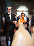 Wedding party in church. Bride and groom wedding party in church Stock Photos