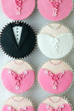 Wedding party cupcakes Stock Images