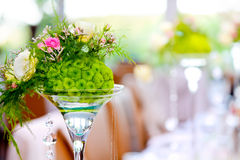 Wedding party decoration. Colorful flowers and defocused pastel background Royalty Free Stock Image