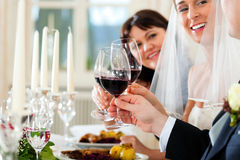 Wedding party at dinner Royalty Free Stock Photos
