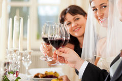 Wedding party at dinner stock photo