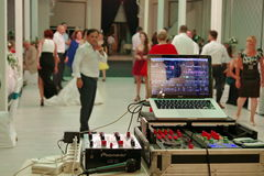 Wedding party. People dancing. Dj equipment  Stock Image