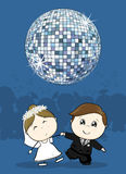 Wedding party first dance. Cute bride and groom first dance wedding with big disco ball, ideal for funny party invitation Stock Photography
