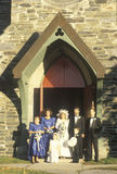 A wedding party in front of Trinity Parish Church, Route 169, CT Royalty Free Stock Photography