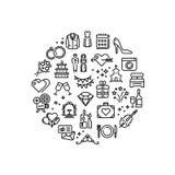 Wedding party fun outline vector icons Stock Photos