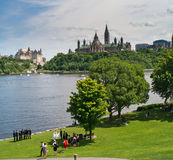 Wedding Party In Gatineau, Ontario,Canada. A Wedding party taking photos in Gatineau across from the Ottawa Parliamant buildings and next to the Ottawa River stock photos
