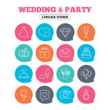 Wedding and party icon. Dress, diamond and ring. Royalty Free Stock Image