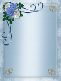 Wedding, Party Invitation Blue Roses. Image and illustration composition for elegant border, wedding, birthday, party, anniversary invitation, background or royalty free illustration
