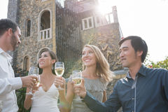 Wedding party. Multi-ethnic people drinking champagne at wedding party Stock Image