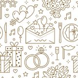Wedding party seamless pattern, flat line illustration. Vector icons of event agency, organization - rings, balloons Royalty Free Stock Image