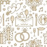 Wedding party seamless pattern, flat line illustration.. Vector icons of event agency - rings, balloons, gifts, invitation, flowers. Cute repeated background Stock Image