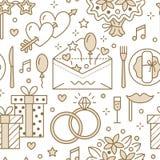Wedding party seamless pattern, flat line illustration.  Stock Image