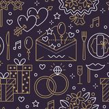 Wedding party seamless pattern, flat line illustration. Vector icons event agency rings, balloons, gifts, invitation Royalty Free Stock Images