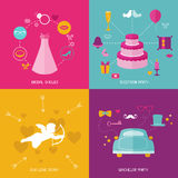 Wedding Party Set - Photobooth Props Royalty Free Stock Photography