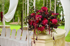 Wedding party setting flower bouquet outdoors Royalty Free Stock Images