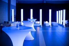 Wedding party venue. In blue light stock images