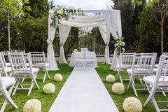 Wedding Path And Decorations For Newlyweds. In Nature In Garden. Stock Photo
