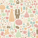 Wedding pattern. Seamless pattern with colorful wedding icons Royalty Free Stock Images