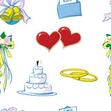 Wedding Pattern Repeat. A repeat pattern of wedding items over a pure white background Stock Photos