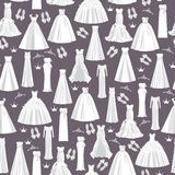 Wedding pattern with white dresses for bride on dark background. Royalty Free Stock Photo