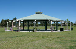 Wedding Pavilion. In park with flowers and seating area stock photo